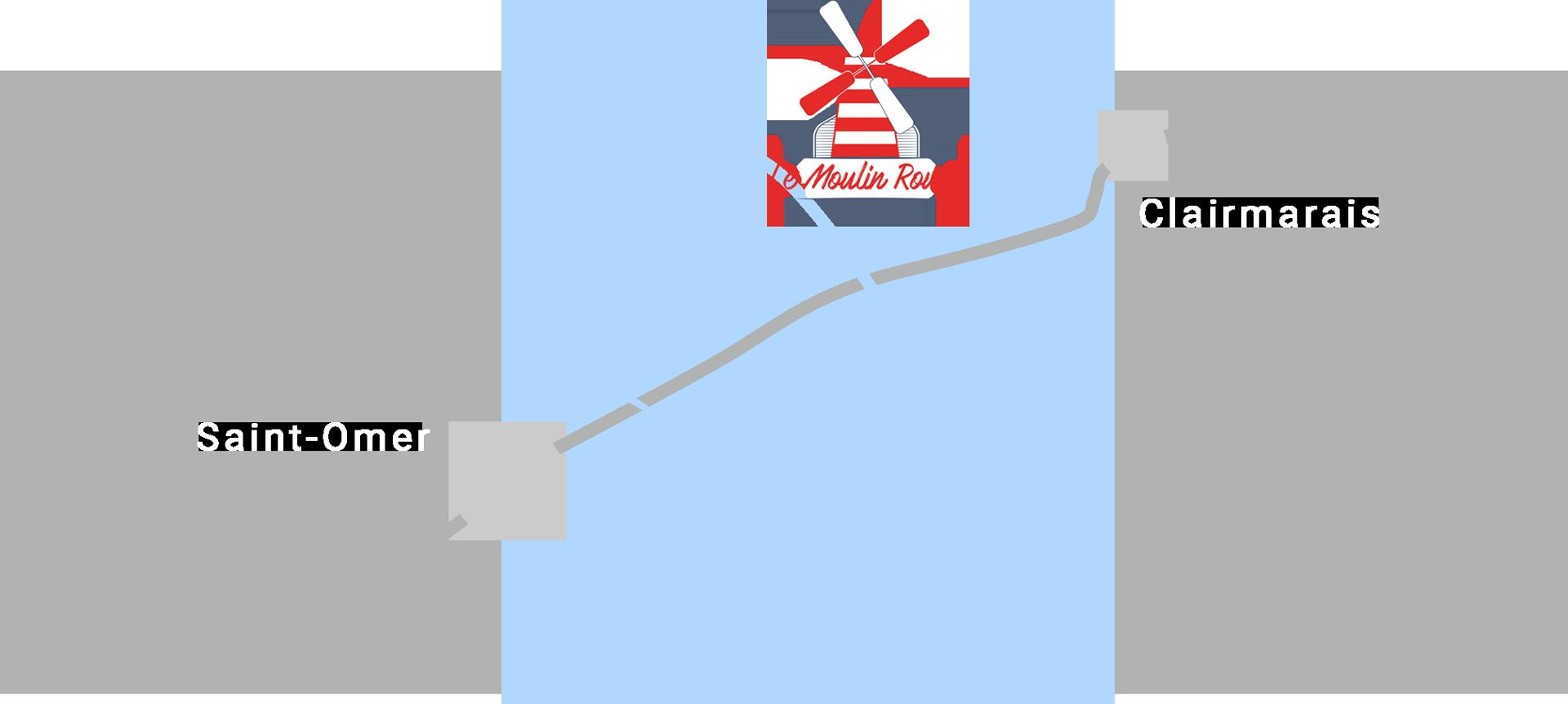 carte accès gîte le moulin rouge clairmarais